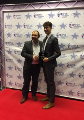 Joel Khan, Junior Male Sports Person of the Year, with Richard Webb from Scimitar Sports who sponsored the award, which was presented at the 2016 Herefordshire & Worcestershire Sports Awards at Sixways on 9th November 2016.