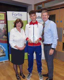 Joel Khan with his Coach Deirdre Elmhirst and Steve Cram who presented Joel with his Junior Male Sports Person of the Year at the City of Worcester Sports Awards at The Worcester Arena on 15th September 2016